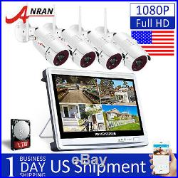 1080P Security Camera System Wireless Outdoor WIFI 12'' Monitor 1TB 8CH CCTV Kit