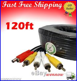 120ft Black Audio Video & Power RCA Cable for Night Owl Security CCTV Camera