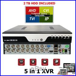 16 Channel H. 264 Security DVR with 2TB HDD CCTV Camera Recorder HD TVI CVI AHD