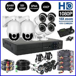 18X PTZ 8CH AHD 1080P DVR 4x 4MP IR Outdoor CCTV Security Camera System Kit
