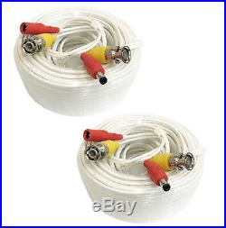 2 x 60 Ft Video Power BNC RCA Cable for Night Owl CCTV Security Cameras White