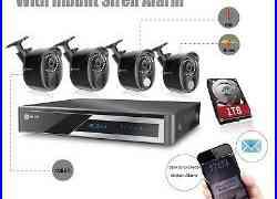 4CH 1080P AHD DVR Smart Alarm Home CCTV Security System Camera with PIR+Siren 1TB