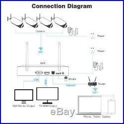 4CH 1080P DVR Wifi Video Outdoor CCTV Security Camera System Home Surveillance