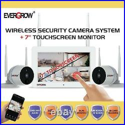 4CH 7 Touchscreen Monitor 1080P Wireless Security Camera System Audio 16GB CCTV