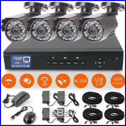 4CH H. 264 HD AVR Ourdoor 720P CCTV Night Vision Home Security Camera System