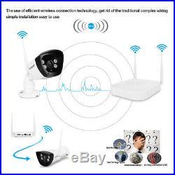 4CH Wireless CCTV 1080P DVR NVR K+4XOutdoor Wifi 720P HD Security IP Camera 2 MP