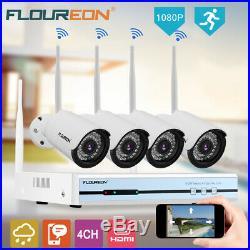 4CH Wireless HD 1080P DVR WIFI Video CCTV IR-CUT Security IP Camera NVR System
