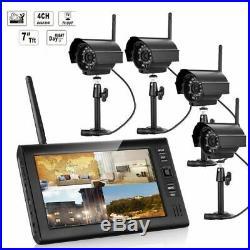 7 Wireless Monitor 2.4GHz 4CH CCTV DVR Kit WIFI Cameras Audio Security System