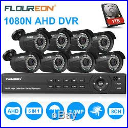 8CH 1080N AHD DVR 8X Outdoor 3000TVL 1080P 2 MP Camera Security CCTV Kit 1TB HDD