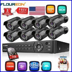 8CH 1080N AHD DVR Outdoor 3000TVL 1080P CCTV IP Security Camera System +1TB HDD