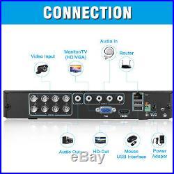 8CH 1080P AHD DVR 3000TVL Security Camera System CCTV Indoor Outdoor Camera Kits