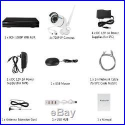 8CH Wireless CCTV NVR Outdoor WIFI IR-CUT Day Night Camera Security System Set