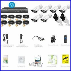 A-ZONE 8CH 1080P DVR AHD Security Camera System Home Outdoor CCTV with 2TB HDD