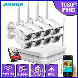 ANNKE Wireless 8CH 1080P NVR 8x 2MP WIFI IR CCTV IP Security Camera System 1TB
