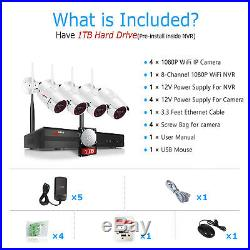 ANRAN 8CH 1080P Home Security Camera System Wireless Outdoor 1TB Hard Drive CCTV