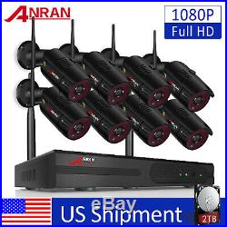 ANRAN 8CH Wireless Security Camera System 1080P Outdoor 2TB Hard Drive CCTV NVR