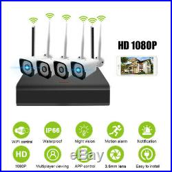 AUGIENB 4CH Wireless NVR WIFI IP Camera 1080P Outdoor Security Alarm System CCTV