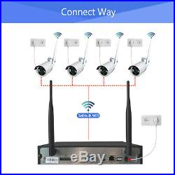 Anni 4CH Wireless 1080P NVR Outdoor Indoor WIFI Camera CCTV Security System Kit