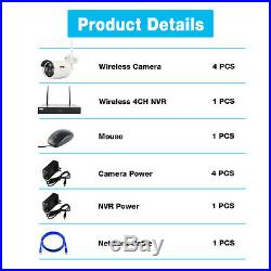 Anspo 4CH Wireless 1080P NVR Outdoor indoor WIFI Camera CCTV Security System Kit