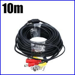 CCTV Security Camera RCA BNC Cable 10M/33FT Wire Cord Video Power Cable Black US