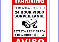 CCTV Warning Security Audio Video Surveillance Camera Sign English/Spanish METAL