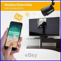 FLOUREON 4CH CCTV Security Camera System FHD 720P Outdoor Video Surveillance DVR