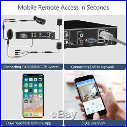 FLOUREON 4CH DVR 1080N 720P IR Night Outdoor CCTV Home Security Camera System US