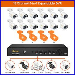 H. 265+ 16 Channel 5-in-1 1080p DVR Security Camera System 12pcs 2MP CCTV Camera