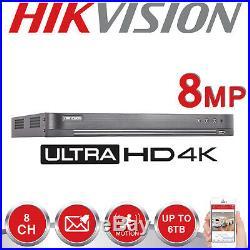 Hikvision 8mp Cctv 4k Uhd Dvr 8ch System Outdoor VIVID Hd Camera Security Kit Uk