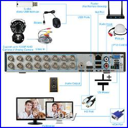 KKmoon 16CH 1080P 5in1 AHD NVR DVR 720P Outdoor CCTV Security Camera System Kit