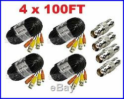 Premium Quality 4x100ft Video Power BNC Cable fit Night Owl CCTV Security Camera
