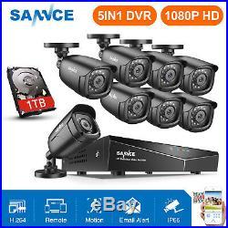 SANNCE 1080P HDMI DVR 1500TVL Outdoor 720P Night CCTV Security Camera System 1TB