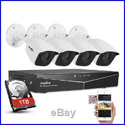 SANNCE 4CH 1080P HDMI DVR Video IR HD CCTV Security Cameras System 1TB HDD WHITE