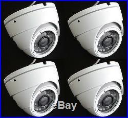Set (4) HD TVI 2.4MP 1080p HD 1/2.8 CMOS Outdoor IR Dome Security Cameras 3.6MM