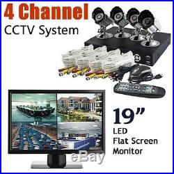 TUTIS 250GB CCTV HOME/OFFICE SECURITY SYSTEM+4 x CAMERA+19 LCD Mnitor