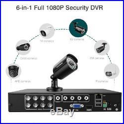 True HD 1080P 6-In-1 Video DVR Recorder Security Camera System CCTV Night Vision