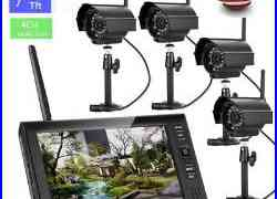 Wireless 7TFT LCD 2.4G Quad CCTV DVR Night Vision Camera Home Security System