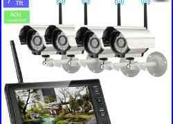 Wireless 7TFT LCD Monitor DVR 4 Night Vision CCTV Quad Camera Security System