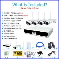 Wireless 8CH FHD 1080P NVR WiFi Camera Outdoor Home Security CCTV System Kit