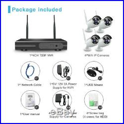 Wireless Security Camera System 4CH HD 1080P CCTV WIFI Kit NVR Outdoor