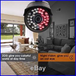 ZOSI 1080P HDMI 8CH DVR HD 720P Day Night Vision CCTV Security Camera System 1TB