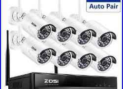 ZOSI 1080p Wireless NVR 1.3MP 2MP Outdoor Security IP Camera CCTV System 1TB 2TB