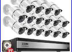 ZOSI 16 Ch Channel 1080p HDMI Surveillance CCTV DVR Security Camera System 2TB