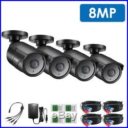 ZOSI 4 Pcs 4K Extreme Security Camera 8.0MP Waterproof Bullet CCTV Camera system