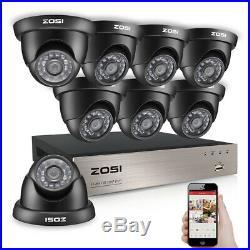 ZOSI 8CH DVR 1080P Full HD Outdoor IR LEDs Dome CCTV Security Camera System Kit