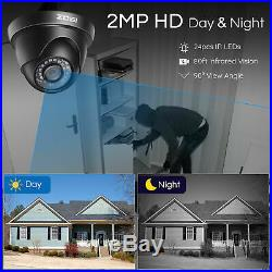 ZOSI 8CH H. 265+ 1080N DVR 1TB HDD 2MP Outdoor CCTV Home Security Camera System