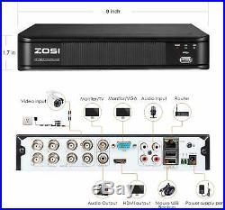 ZOSI H. 265+ DVR 1080P CCTV Camera Home Security System IR Night Vision 0-1TB