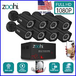 Zoohi Security Camera System Waterproof Home Wired 1080P 8CH AHD Outdoor CCTV HD